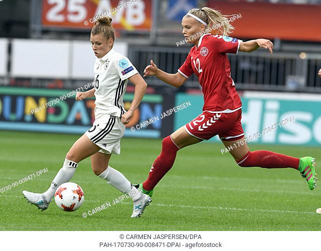 Germany's Linda Dallmann (l) and Denmark's Stine Larsen in action during the UEFA Women's EURO quarterfinals soccer match between Germany and Denmark at the...