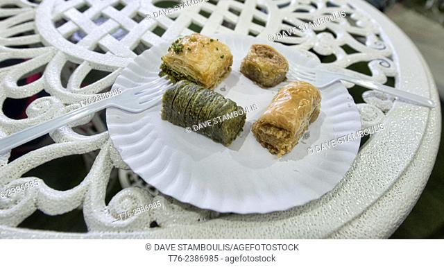 baklava and Turkish sweets for sale in Soi Arab, Bangkok, Thailand