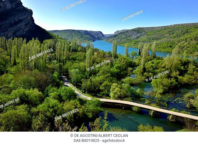 View of Lake Visovac near Roski Slap, Krka Waterfalls, Krka National Park, Croatia