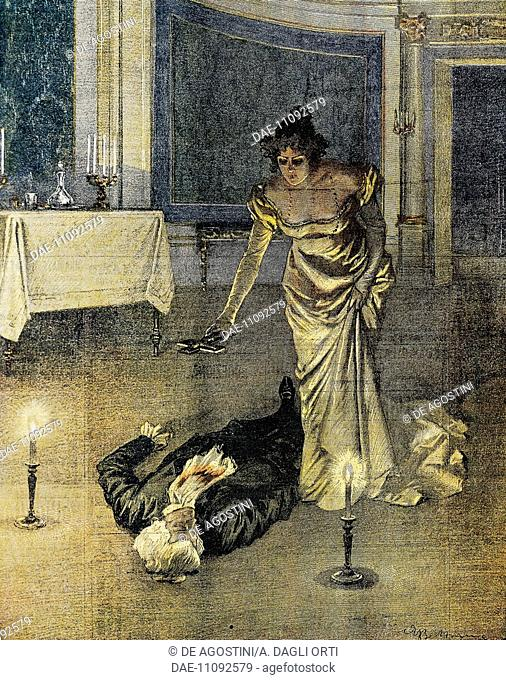 The death of Scarpia at the end of Act II of Tosca by Giacomo Puccini, plate by Achille Beltrame (1871-1945), La Domenica del Corriere, February 4, 1900