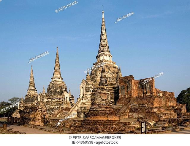 Three chedis, stupas, at Wat Phra Si Sanphet, Buddhistic temple complex, Ayutthaya, Thailand