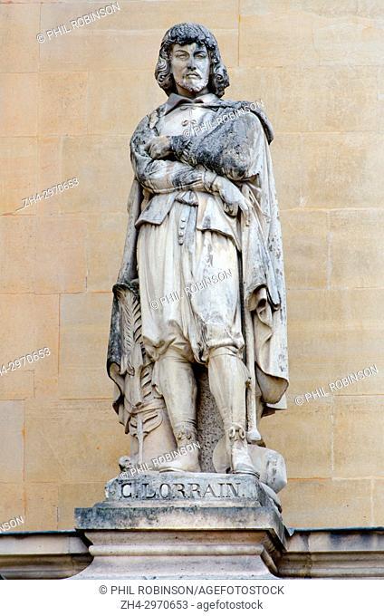 Paris, France. Palais du Louvre. Statue in the Cour Napoleon: Claude Lorrain (born Claude Gellée c. 1600-1682) French Baroque painter, draughtsman and engraver