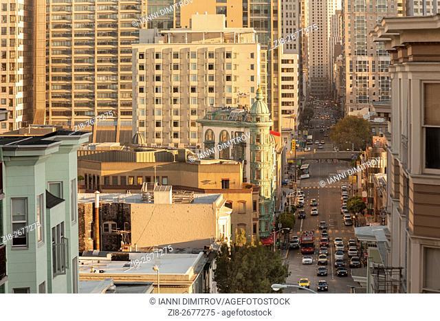 Traffic on Kearny Street,Columbus Tower -elevated view,San Francisco,California,USA
