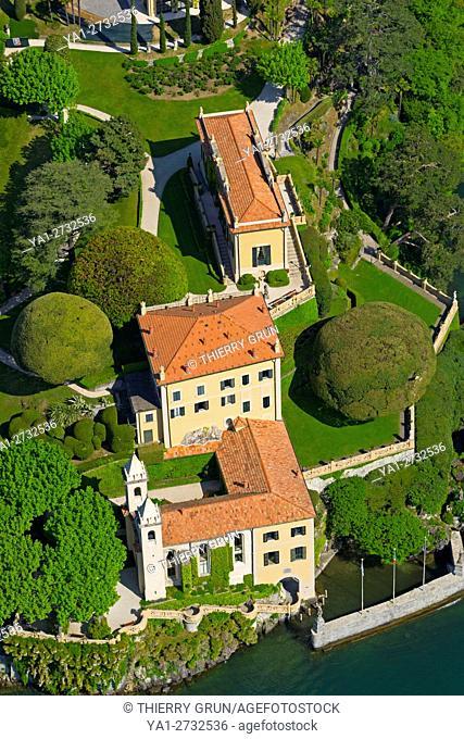 Italy, Lombardy, Como lake, Lenno, Balbianello villa (aerial view)