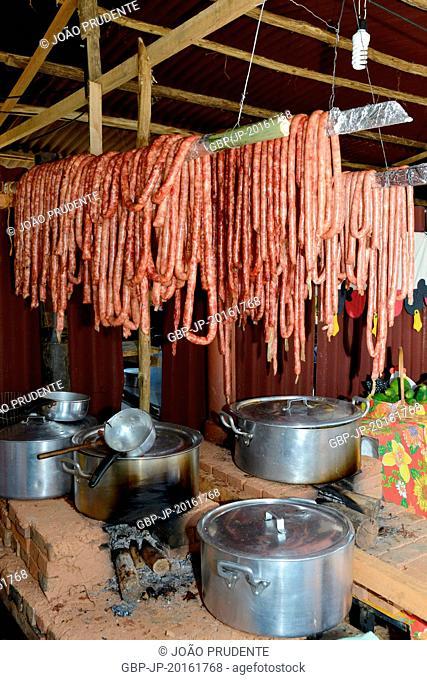 Sausages on wood stoves, Valinhos, São Paulo, Brazil, 09.2015