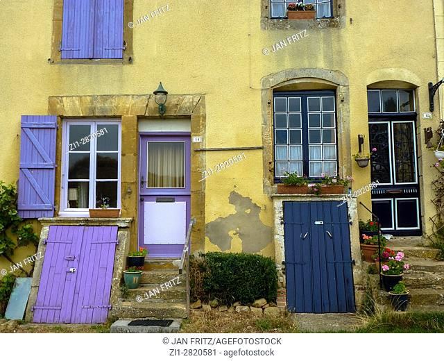 colorfull shutters and door at house in malmedy, france
