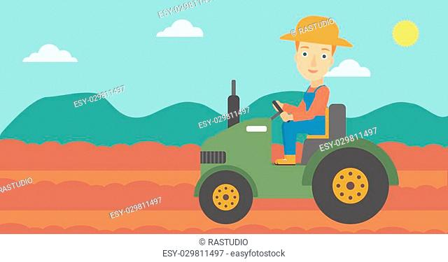 A woman driving a tractor on the background of plowed agricultural field vector flat design illustration. Horizontal layout
