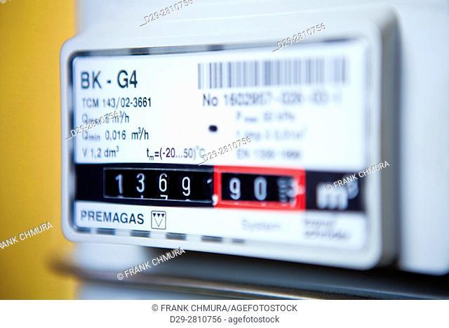 closeup of a gas meter in Czech Republic