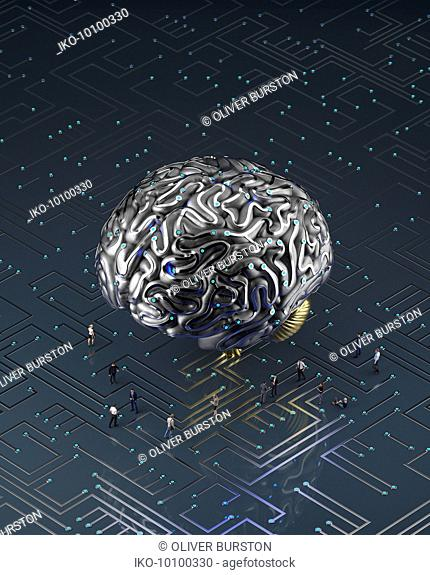 People on circuit board connected to large artificial brain