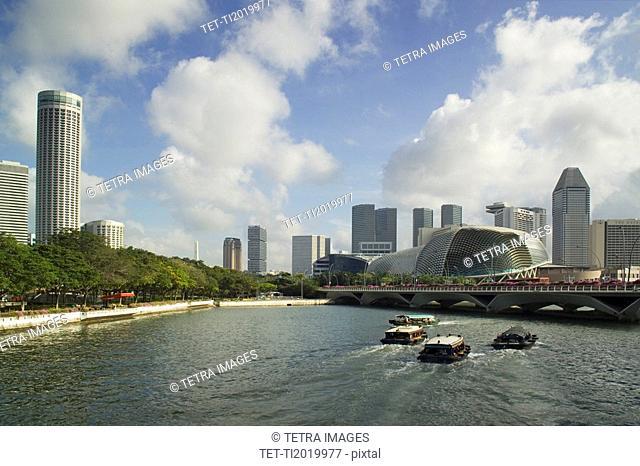 Esplanade Bridge and Esplanade Theatres on the Bay Singapore River Singapore