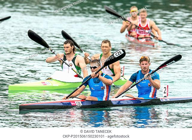 Patrik Kucera (left front) and Jakub Spicar (right front) of Czech Republic compete in K2 men's kayak double 1000m final of the canoe sprint at the Baku 2015...