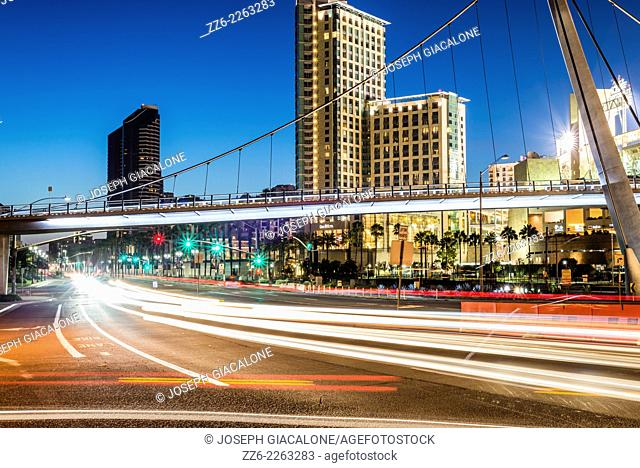 The Harbor Drive Pedestrian Bridge in downtown San Diego viewed at night. San Diego, California, United States
