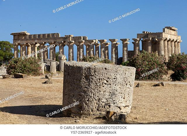 Temple of Athena ruins and Temple of Hera in the background at Selinunte the ancient Greek city on the southern coast of Sicily, Italy, Europe