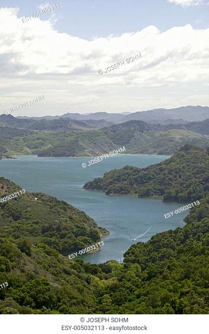 Aerial view of Lake Casitas and hills of Las Padres National Forest between Ojai and Santa Barbara, California