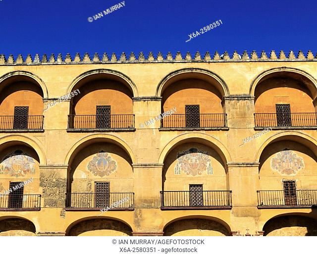 Symmetrical pattern of balconies in the historic Mezquita complex of buildings, Cordoba, Spain