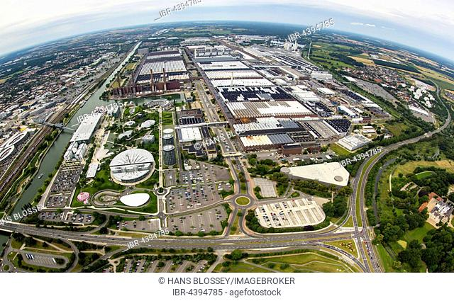 Aerial view, Volkswagen factory Wolfsburg, Autostadt and Ritz Carlton Hotel, Fish-eye lens, Lower Saxony, Germany