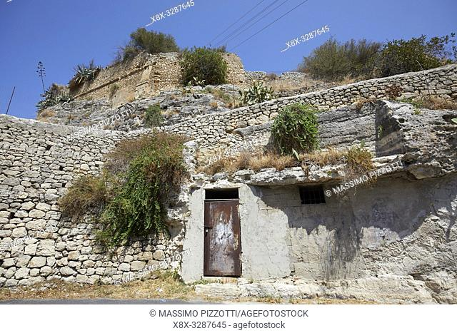 The archeological site of Cave of Ispica, Sicily, Italy