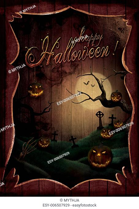 Halloween design - Pumpkins theatre. Card with Spooky pumpkins in wooden frame. Horror creepy design