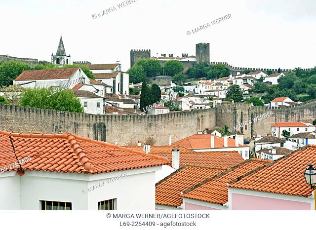 View on medieval town of Obidos with city wall and fortress, Leiria district, Portugal, Europe