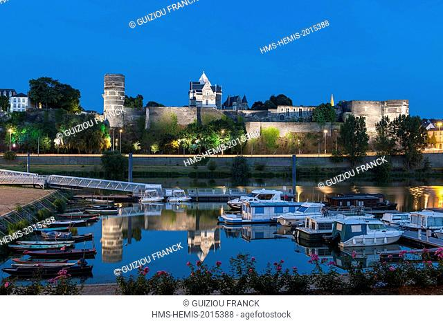 France, Maine et Loire, Angers, the river port and the castle of the Dukes of Anjou