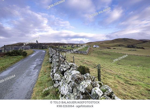 road to Kilmuir Cemetery, Kilmuir, (Cille Mhoire), west coast of the Trotternish Peninsula, Isle of Skye, Highlands, Scotland, United Kingdom