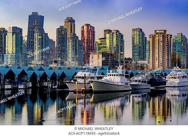 Marina and skyline, Coal Harbour, Vancouver, British Columbia, Canada