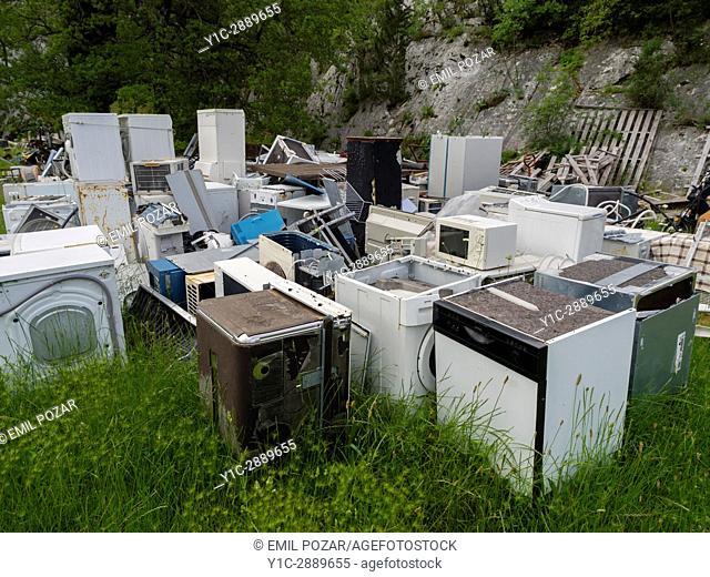 Junk junk-yard mostly laundry washing machines