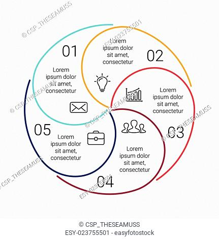 Circle line stroke infographic. Template for cycle diagram, graph, presentation and round chart. Business concept with 5, options, parts, steps or processes