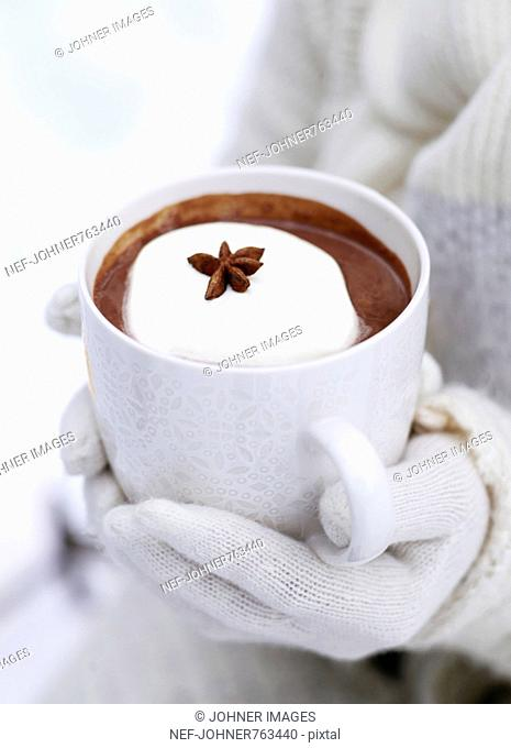 A cup of hot chocolate outdoors, Sweden