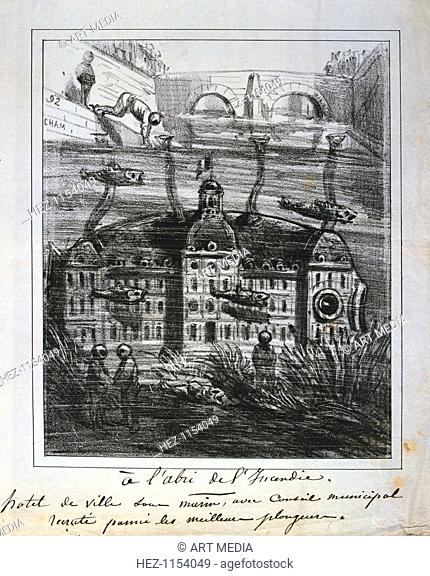 Cartoon proposal to rebuild the Hotel de Ville under water to prevent fire, Paris Commune, 1871. The headquarters of the government of the Commune