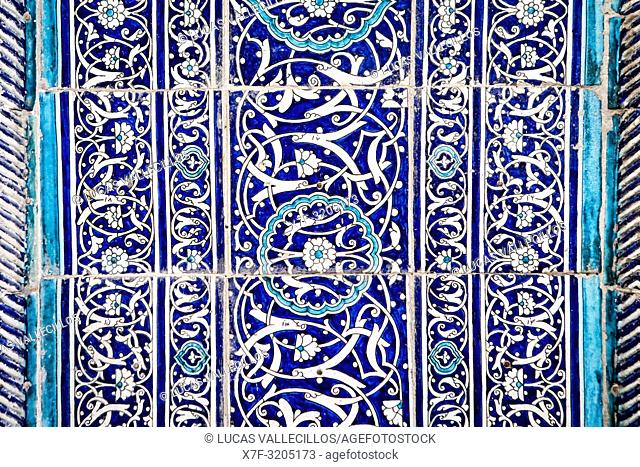 Detail,facade, ornamentation of Islom Hoja Medressa, Khiva, Uzbekistan