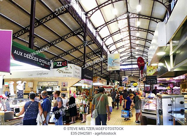 """The iron and glass roof of the""""""""Les Halles"""""""" market in Narbonne France built in 1907"""