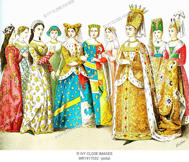 The figures represent French women around 1100. They are, from left to right: queen, four ladies of rank, princess, lady of rank