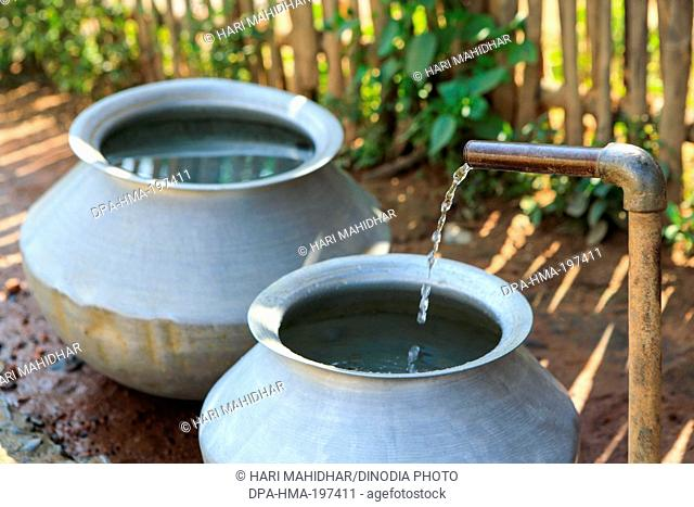 Collection of water at bastar, chhattisgarh, india, asia
