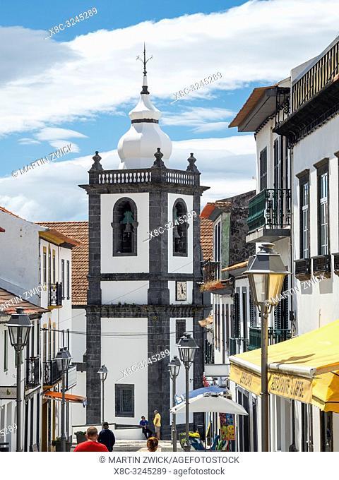 Church Igreja Matriz. Velas, the main town on the island. Sao Jorge Island, an island in the Azores (Ilhas dos Acores) in the Atlantic ocean