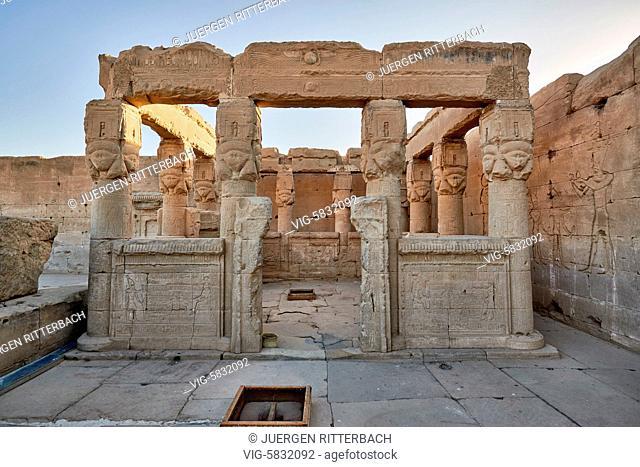EGYPT, QENA, 07.11.2016, Hathor temple in ptolemaic Dendera Temple complex, Qena, Egypt, Africa - Qena, Egypt, 07/11/2016