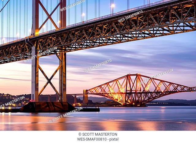 UK, Scotland, Fife, Edinburgh, Firth of Forth estuary, Forth Bridge and Forth Road Bridge at sunset