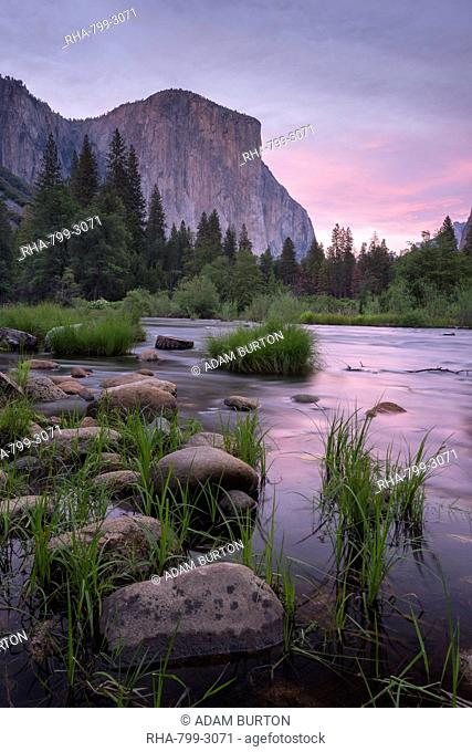 The River Merced and El Capitan at sunset, Yosemite Valley, UNESCO World Heritage Site, California, United States of America, North America