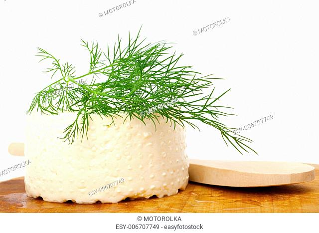 goat cheese, wooden plate