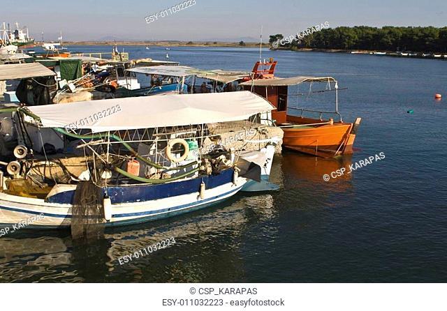 Greek wooden traditional fishingboats at Porto Lagos