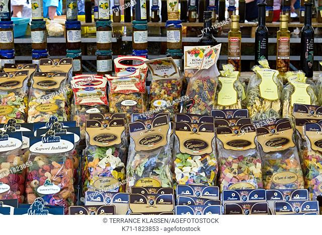 A display of various pasta packages an a shop in central Rome, Italy
