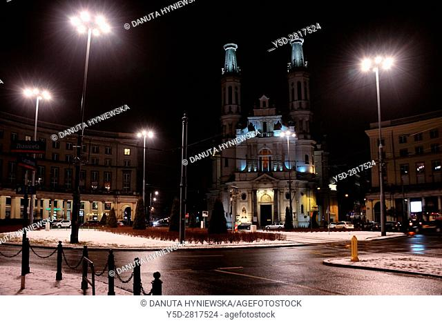 City center of Warsaw at night, Church of the Holiest Saviour, plac Zbawiciela - Saviour Square seen from Marszalkowska street, Srodmiescie Poludniowe, Warsaw