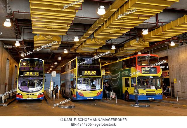 Central Bus Station in the Central District, underground, double-decker buses, Hong Kong Island, Hong Kong, China