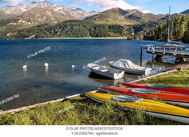 Summer landscape at Lake Sils at Punt da Lej, Engadine, Switzerland