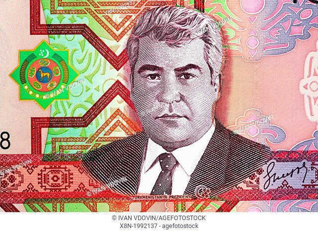 Portrait of President Niyazov from 100 Manat banknote, Turkmenistan, 2005