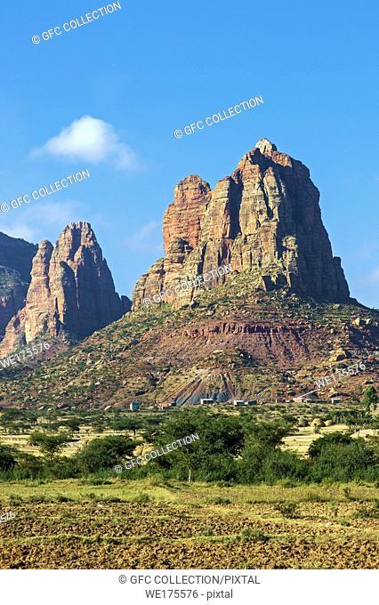 Gheralta sandstone escarpment rising above the Hazwien plain, Tigray, Ethiopia