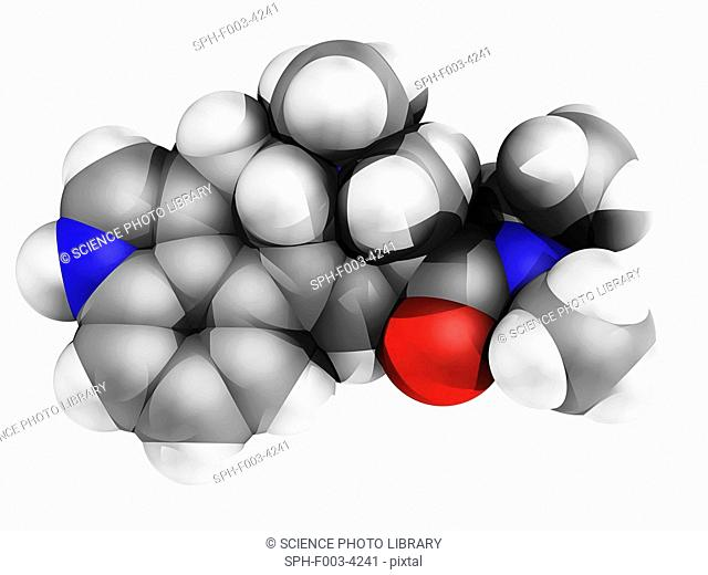 LSD drug, molecular model. Atoms are represented as spheres and are colour-coded: carbon grey, hydrogen white, nitrogen blue and oxygen red