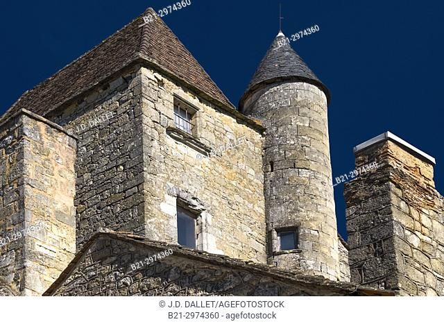 France, Nouvelle Aquitaine, Dordogne, at Domme , typical stone house