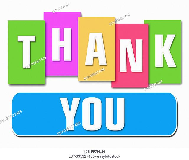 Thank you text in various colorful stripes