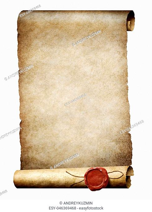 old parchment scroll with wax seal isolated on white